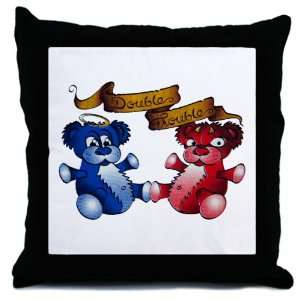 Throw Pillow Double Trouble Bears Angel and Devil