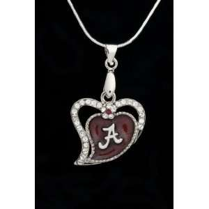 University of Alabama Crimson Tide Heart Pendant Charm Medal with Out