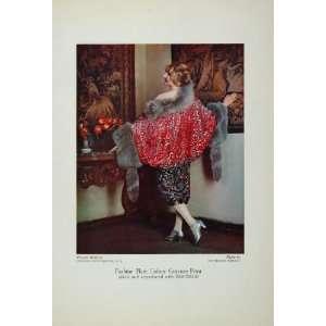 1929 Fashion Ad Woman Model Fur Stole Wrap Color Print