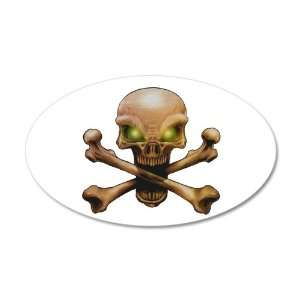 Wall Vinyl Sticker Skull and Crossbones with Green Eyes Everything