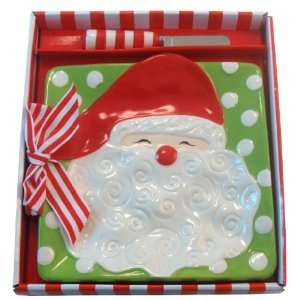 Santa Clause Cheese Plate Gift Set Kitchen & Dining
