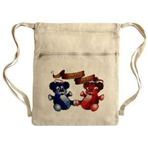 Messenger Bag Sack Pack Khaki Double Trouble Bears Angel and Devil