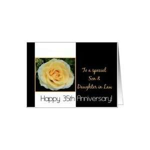 35th Wedding Anniversary card for Son & Daughter in Law   Yellow Rose