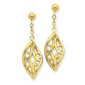 14k Gold Filigree Tear Drop Dangle Post Earrings Jewelry