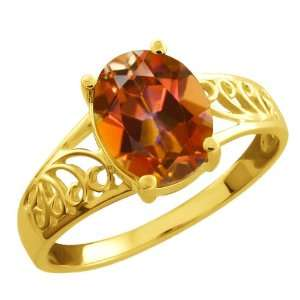 2.30 Ct Oval Ecstasy Mystic Topaz Yellow Gold Plated