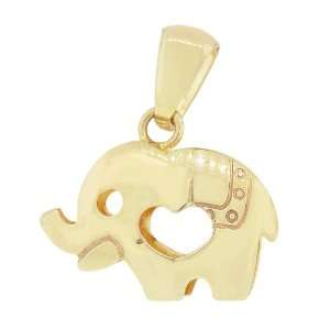 14k Yellow Gold, Elephant Heart Pendant Charm 17mm Wide