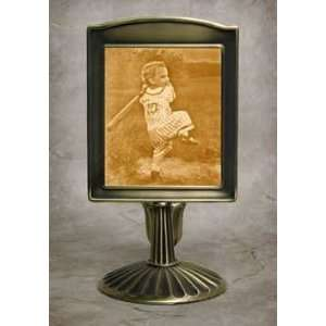 Field of Dreams Lithophane Mantle Stand Antique Brass
