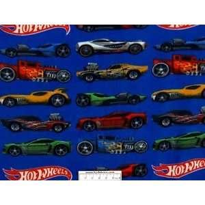 Hot Wheels Cars on Blue Fleece Panel  Toys & Games