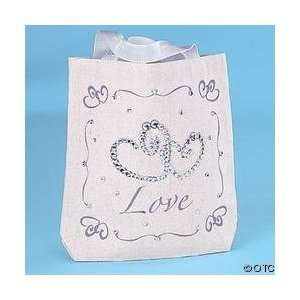 Canvas Tote Bags Wedding Favor Gift 12pc Set White LOVE, MARRIAGE