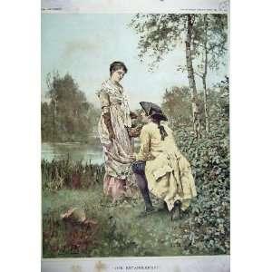 1887 Water Colour Kind Entanglement Man Lady Romance
