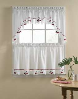 White/Ivory   Fresh Cherries 5 Piece Kitchen Curtain Tier Set from