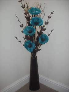 teal silk flower arrangement black vase 1 metre tall