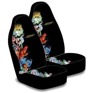 Ed Hardy Koi Fish Seat Covers (Pair) Automotive