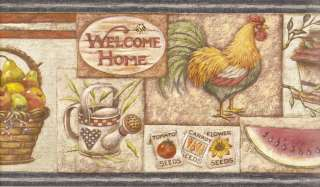 PATRIOT COUNTRY KITCHEN ROOSTER Wallpaper bordeR Wall