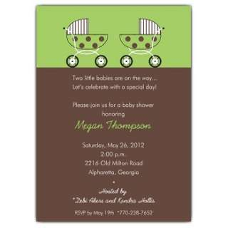 Baby Shower Twin Green Invitations  PaperStyle