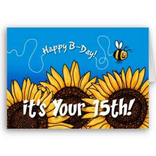 bee trail sunflower   15 years old card from Zazzle