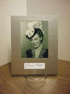 Noreen Nash Autograph Display VINTAGE ACTRESS Signed Signature COA