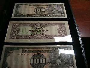 JAPANESE GOVERNMENT PAPER MONEY WW2 PHILIPPINE 100 PESOS.LOT of (3