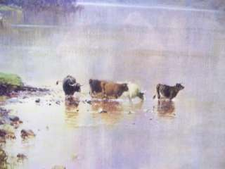 ALFRED DE BREANSKI Highlands Peaks LOCH stag cattle 1971