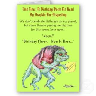 Birthday Poem by Drapkin the Disgusting Card from Zazzle