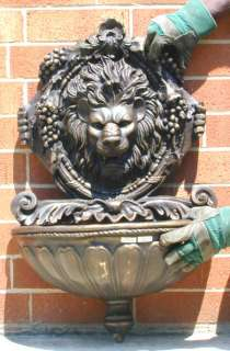 Small Cast Bronze Lion Wall Water Fountain