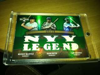 2009 Topps TRIPLE THREAD Mickey MANTLE Babe RUTH Lou GEHRIG Jersey NY