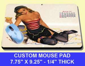 SEXY AL MOORE Pinup Girl MOUSE PAD stocking VARGAS 50s