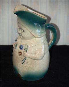 Antique Weller Pottery Figural Dutch Girl With Flowers Milk Pitcher 8