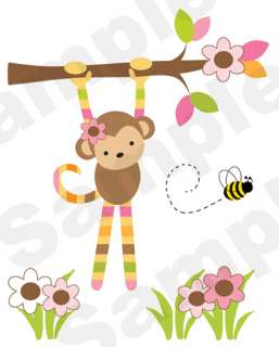 OWL TREE PINK BROWN GREEN FLOWER BEE BABY GIRL NURSERY WALL MURAL