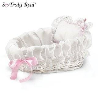 So Truly Real Baby Doll Accessories White Plastic Bassinet With White