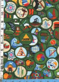Fabric Kaufman GIRL SCOUTS RETRO merit badges packed