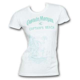 Captain Morgan Beach Scene White Graphic Ladies Tee Shirt