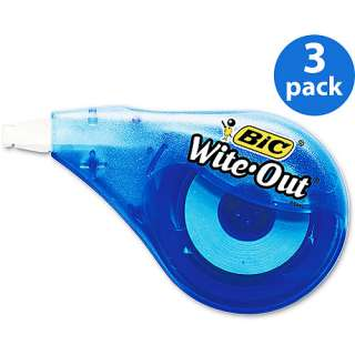 BIC Wite Out EZ Correct Correction Tape 3 Pack Bundle: Office