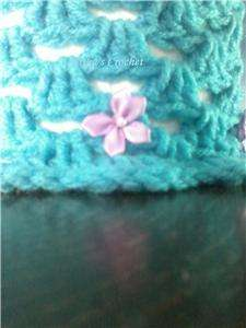 Handmade Crochet Toilet Paper Roll Cover ( Turquoise with light purple