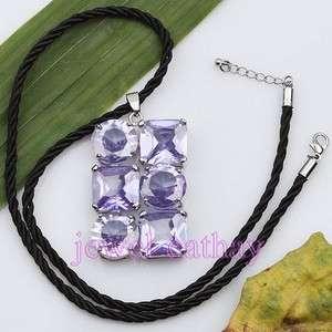 Purple FLOWER COUPLE Crystal BEAD Pendant Necklace Set