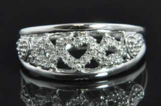 White Gold Natural Diamond Pave Open Heart Dome Band Ring 6.75