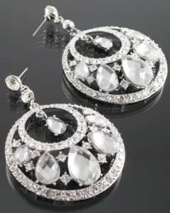 Silver Elegant Crystal Rhinestone Earrings NEW