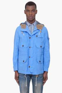 Junya Watanabe Blue Hooded Canvas Coat for men