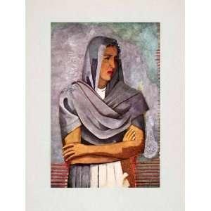 1947 Tipped In Print Rufino Tamayo Portrait Olga Flores
