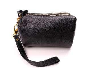 100% Genuine Leather Small Bag Clutch Bag Purse Cosmetic Bag w/ Strap