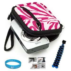 Carrying Case with Pink Zebra Fur Exterior for Sony Cybershot DSC TX10