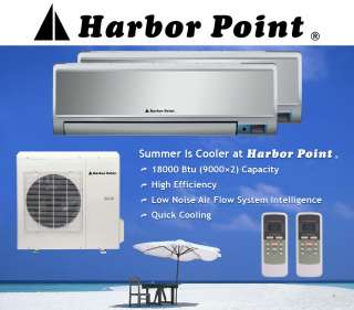 9000×2 Btu Dual Zone AC Heat Pump Ductless mini split