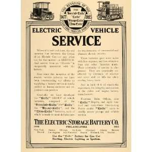 1912 Ad Electric Storage Battery Exide Vehicle Wagon