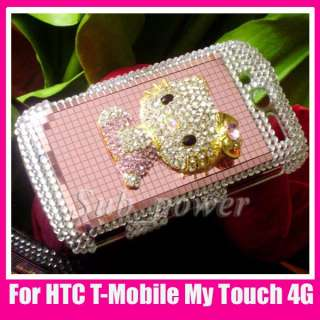3D Rhinestone metal hello kitty Bling hard Case cover for HTC mytouch