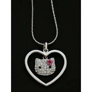 Hello Kitty Encircled Heart Crystal Charm Necklace   Pink