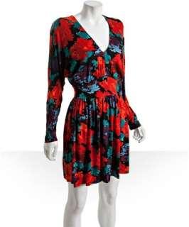 Envi pixel floral print jersey dolman sleeve dress