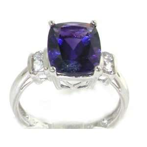 Luxury Elegant Womens 9K White Gold Cushion Cut Amethyst