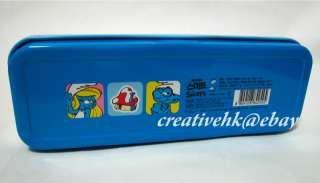 The Smurfs BRAINY Metal Pencil Box Case Stationery NEW