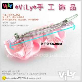 Handmade Ribbon Flower Rose Hair Clip Barrette Pink