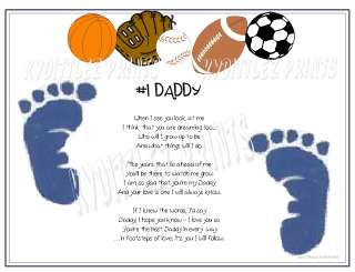 Sports Baby Footprints New Daddy Gift Footsteps of Love